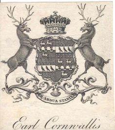Armorial bookplate of James Cornwallis, later Mann (1778-1852), 5th Earl Cornwallis (GB 1753).