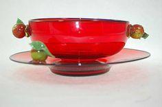 Antique Venetian Art Glass Selenium Red by SummitAntiqueCup