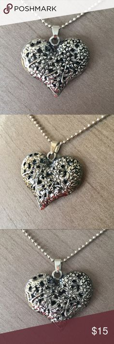 """Antique Silver Filigree Flower Puff Heart Necklace Antique Silver Filigree Flower Puff Heart Necklace - chain measures approximately 26"""". Jewelry Necklaces"""