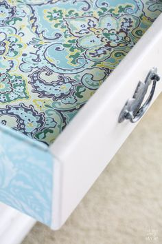 Drawer makeover idea using fabric   In My Own Style