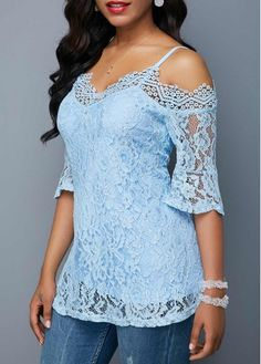 Stylish Tops For Girls, Trendy Tops, Trendy Fashion Tops, Trendy Tops For Women Blue Shirt Outfits, Cute Outfits, Casual Outfits, Trendy Tops For Women, Light Blue Shirts, Winter Fashion Outfits, Blue Lace, Knitwear, Cold Shoulder