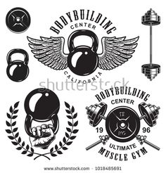 Buy Set of Bodybuilding Emblems by imogi on GraphicRiver. Set of bodybuilding emblems with wreath wings and sport equipment in black colour. Crossfit Logo, Gym Logo, Dumbbell Tattoo, Bodybuilding Logo, Bodybuilding Equipment, Fitness Tattoos, Six Pack Abs, New Tattoos, Tattoo Designs