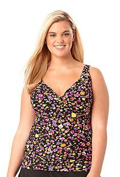 966f5cd1b Anne Cole Womens Plus Size Rosebud Twist Front Shirred UW Tankini Swim  Top24WACPlus16 Rosebud -- You