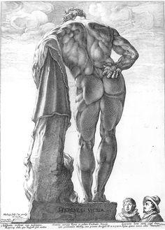 """HÉRCULES FARNESIO """" 1592 En esta imagen, una estampa del artista holandés Hendrick Goltzius, de 1592, vemos a dos personas estudiando una enorme escultura, el llamadoHérculesFarnesio, una de las obras más conocidas de toda laAntigüedad, que se descubrió enRoma, en 1546. Muchos artistas de toda Europa viajaron a Italia a ver esculturas y edificios romanos."""