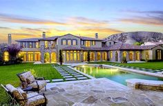 Mediterranean California Mansion #beautiful #home - great backyard for the kids to play... and the adults...lol!