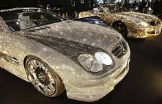 """This takes """"Bling"""" to a whole new level. Customized Mercedes-Benz studded with Swarovski Crystal glass, are displayed at the pavilion of custom car accessory company Garson/D.D at Tokyo Auto Salon 2010 at Makuhari Messe in Chiba, east of Tokyo Bling Bling, Bling Car, Bugatti, Lamborghini, Ferrari, Custom Car Accessories, Nissan, Most Expensive Car, Expensive Taste"""