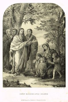 "Antique Religious Print - ""CHRIST BLESSING LITTLE CHILDREN"" - Lithograph - c1850"