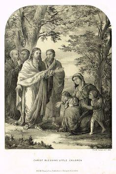 "Antique Religious Print - ""CHRIST BLESSING LITTLE CHILDREN"" - Lithograph - c1850"