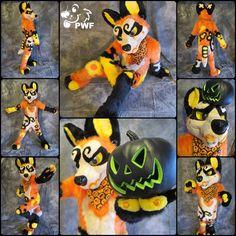 Halloween-themed canine by PhoenixWolfFursuits