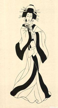 "Geisha Princesses - Lady Lisa - Cream - 24"" x 44"" PANEL"