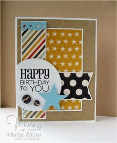 Masculine Birthday card by Marisa Ritzen using Viva La Verve sketch and Birthday to You Plain Jane.