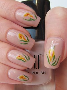 Stylised Nude Calla Lily Nail Art