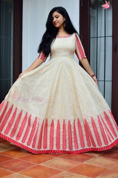 Long gown dress - Floor length leaf design Anarkali in red and beige with hand embroidered neck in red Long Dress Design, Dress Neck Designs, Long Gown Dress, Frock Dress, Long Frock, Saree Gown, Anarkali Dress, Long Anarkali, Lehenga