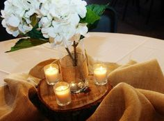 wedding centerpieces burlap | Country wedding centerpiece with burlap | impatiently waiting