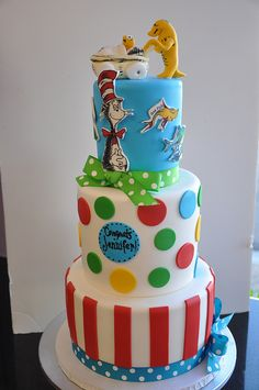Awesome This Is A Super Fun And Very Colourful Dr. Seuss Baby Shower Cake