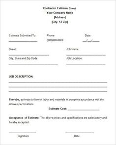 Subcontractor Tender Analysis  Estimating Templates