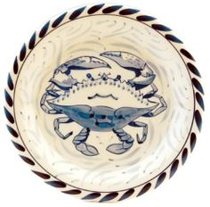 """Blue Crab Bay - Set of 4 - 7"""" Stoneware Dessert / Bread Plates Designed By Artisan José Dovis by Blue Crab Bay. $47.99. Set of 4 - 7"""" Dessert Bread Plates. Microwave- and dishwasher-safe .. Lead-free and oven-safe to 400°F. Designed by an Eastern Shore artisan José Dovis. Blue Crab Stoneware by Dovis Designs is produced and hand-painted in Thailand exclusively for Blue Crab Bay Co. The stoneware is lead-free as well as microwave- and dishwasher-safe. It is also oven-safe..."""