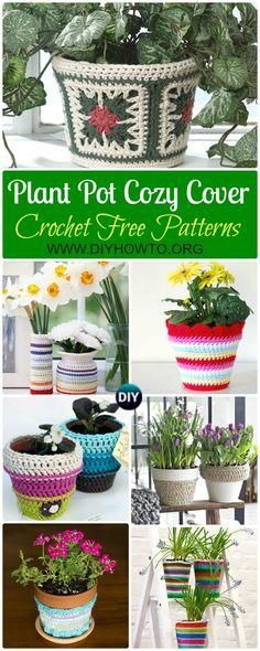 Collection of Crochet Plant Pot Cozy Cover Free Patterns: Crochet Spring Flower Pot Cover, Summer Plant Pot Cozy, Vase Cover, Jar Cover,  Gift Ideas via @diyhowto