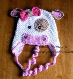 Molly Moo Cow Hat Pattern - Crochet Pattern 4 - Beanie and Earflap Pattern - Newborn to Adult - us or uk Terms - INSTANT DOWNLOAD.