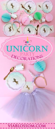 Magical Unicorn Party Decorations for a whimsical party! Every Birthday Party supply you will need to make your daughter special day a Dream come True! #unicornparty #unicornbirthdayparty #unicornpartyideas #viablossom #girlbirthdayparty
