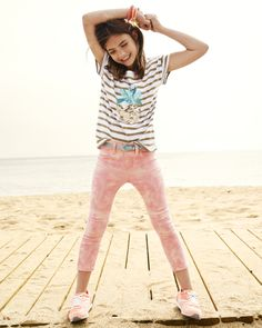 Love the sequined stripes and marble zip capris. Ready for fun in the sun!