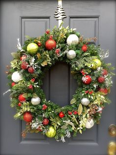 ON+SALE+Large+Red+Green+Silver+Christmas+by+WreathsByRebeccaB
