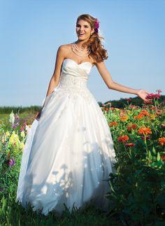 A-line Strapless Sweetheart Beaded Bodice Wedding Dress Sincerity Bridal Wedding Dresses, Bodice Wedding Dress, Applique Wedding Dress, Elegant Wedding Dress, Bridal Gowns, Tulle Wedding, Cinderella Wedding, Wedding Gowns, Celebrity Wedding Dresses