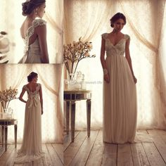 Wholesale Corset Prom Dresses - Buy New 2014 Custom Sheath Wedding Dresses Sexy Sheer Bridal Gowns Backless Beads Pearls Sweep Train Anna Campbell Dress Vintage Church Wedding, $155.08 | DHgate