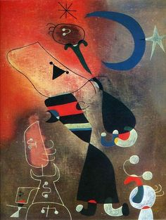 "Art from Spain - Joan Miró (1893 - 1983). ""Woman and Bird in the Moonlight"". 1949. This work belongs to a series of paintings that Miró made in 1949–50 in Majorca. This imagery suggests a harmonious and elemental relationship between man and nature, which the artist felt was threatened by modern civilisation.Tate Gallery's Collection of Modern Art"