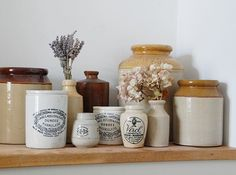 All the vintage stoneware jars sitting on the dusty oak cupboard waiting to take pride of place in the new kitchen #VintageStoneware #Renovation #DustEverywhere #VictorianTerrace #SideReturnExtension #IWantMyHouseBack 😩