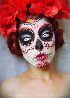 Image result for Beautiful Sugar Skull Makeup