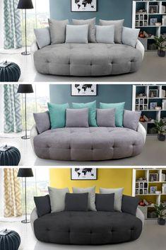 Extra pohodlná okrúhla pohovka 🖤VILDAN🖤 vďaka svojmu netradičnému tvaru zrúti všetky vaše predstavy o tradičných pohovkách ako domček z kariet. 🃏 #pohovka #okruhlapohovka #skvelacena #obyvacka #domov Couch, Throw Pillows, Bed, Furniture, Home Decor, Cushions, Homemade Home Decor, Sofa, Stream Bed