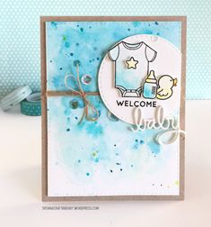 Welcome Baby Boy #handmadecard. Used #SSSFAVE stamps: Tiny Ray of Sunshine and Cuddly Critter Accessories; #SSSFAVE dies: Baby, Stitched Rectangles and Stitched Circles.