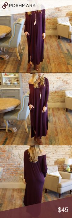 NEW Slouchy Off The Shoulder Maxi Dress New Slouchy Off The Shoulder Maxi Dress. With pockets! Eggplant color. So pretty & trendy! Boutique. Dresses Maxi