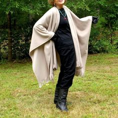 Light Taupe Wrap, Cape, Poncho or Shawl with Fringe in Anti Pill Fleece--One Size Fits Most by YoungbearDesigns on Etsy