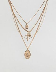 Buy ASOS DESIGN multirow necklace with vintage style icon and cross pendants in gold at ASOS. With free delivery and return options (Ts&Cs apply), online shopping has never been so easy. Get the latest trends with ASOS now. Cute Jewelry, Silver Jewelry, Jewelry Accessories, Women Jewelry, Fashion Jewelry, Jewlery, Asos, Style Vintage, Vintage Fashion