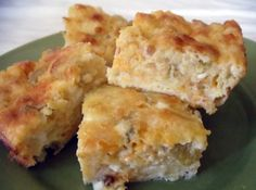 Green Chile Cheese Squares: not too spicy...have made these several times. They are good warm or cold.