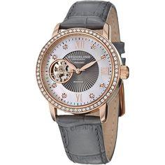 Stuhrling Women's Memoire Diamond Automatic Watch ($170) ❤ liked on Polyvore featuring jewelry, watches, accessories, swarovski crystal bracelet, alligator bracelet, roman numeral bracelet, dial watches and diamond bracelet