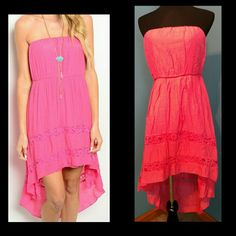 Pink Strapless Hi-Lo Dress