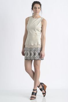 Liberty Garden Suede Embroidered Shift Dress