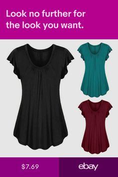 NE PEOPLE Women Round Neck Short Sleeve Asymmetric Loose Fit Tunic Top NEWT7002