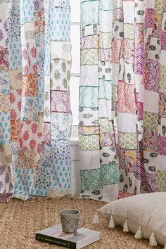 Magical Thinking Patchwork Curtain – Patchwork curtains - My Website 2020 Patchwork Curtains, Boho Curtains, Vintage Curtains, Cortina Boho, Curtain Shop, Homemade Curtains, Magical Thinking, Patch Quilt, Urban Outfitters