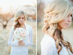 Curly Long Wedding Hairstyle - Emmaline Bride | Handcrafted Weddings, Real Wedding Inspiration, Love for Handmade