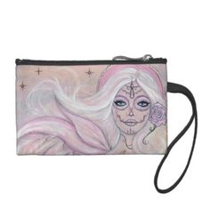 Paloma pink Day of the dead purse  By Renee Coin Wallet