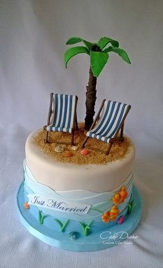 Beach cake - For all your cake decorating supplies please visit Fondant Cakes, Cupcake Cakes, Island Cake, Island Food, Beach Themed Cakes, Theme Cakes, Nautical Cake, Sea Cakes, Retirement Cakes