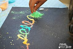 Scented Art - Using crushed fruity cereal and glue to create art! Great activity to teach colors, sorting and even fine motor skills as kids squeeze the glue bottle.