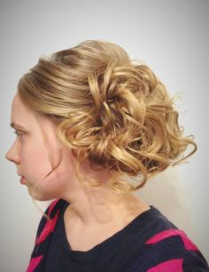 Quick curly side updo