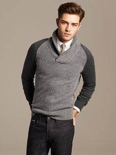 Men's casual style | Banana Republic | Tweed Shawl-Collar Pullover | Francisco Lachowski