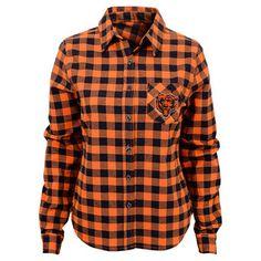Juniors Orange/Navy Chicago Bears Buffalo Plaid Flannel Button-Up Long Sleeve Shirt
