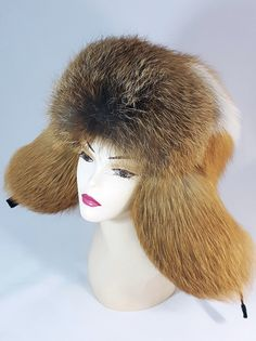 """Unisex Real Russian Ushanka. Real Russian Ushanka """"Zimushka"""" made of genuine Red Fox fur. High quality fur and excellent work of the master provide tremendous appearance. Big ear flaps сan be clasped from below and behind - not from above. 